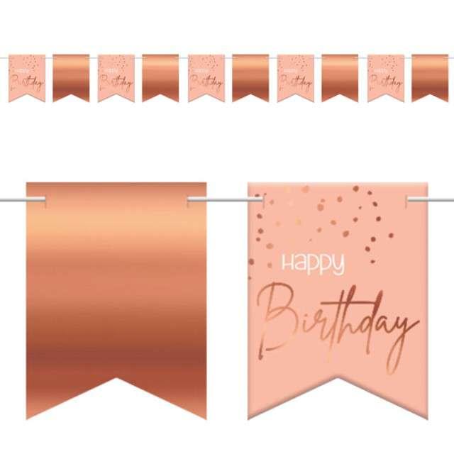 """Baner flagi """"Happy Birthday - Urodziny"""", różowo-złoty, Folat, 600 cm"""