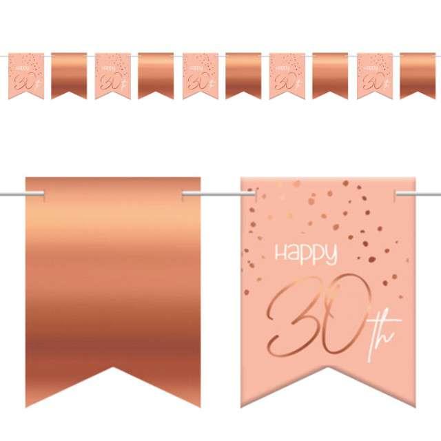 """Baner flagi """"Happy 30th - Urodziny"""", różowo-złoty, Folat, 600 cm"""