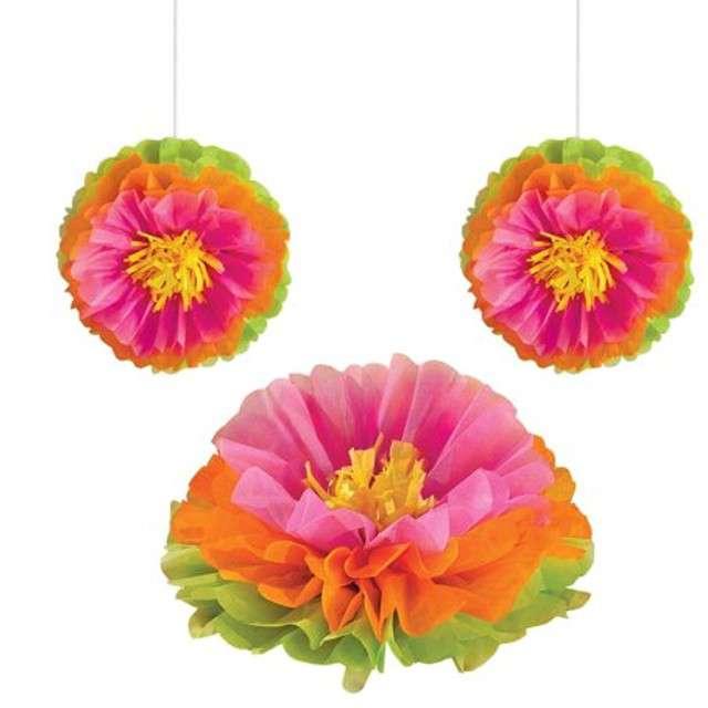 """Dekoracja wisząca """"Kwiaty Hibiskusa"""", Amscan, 40,6 cm, 3 szt"""