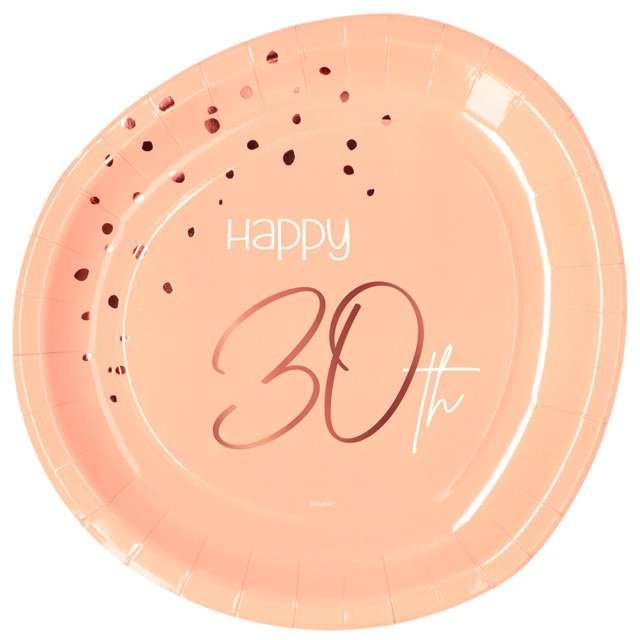 """Talerzyki """"Elegant - Happy Birthday 30"""", różowe, Folat"""