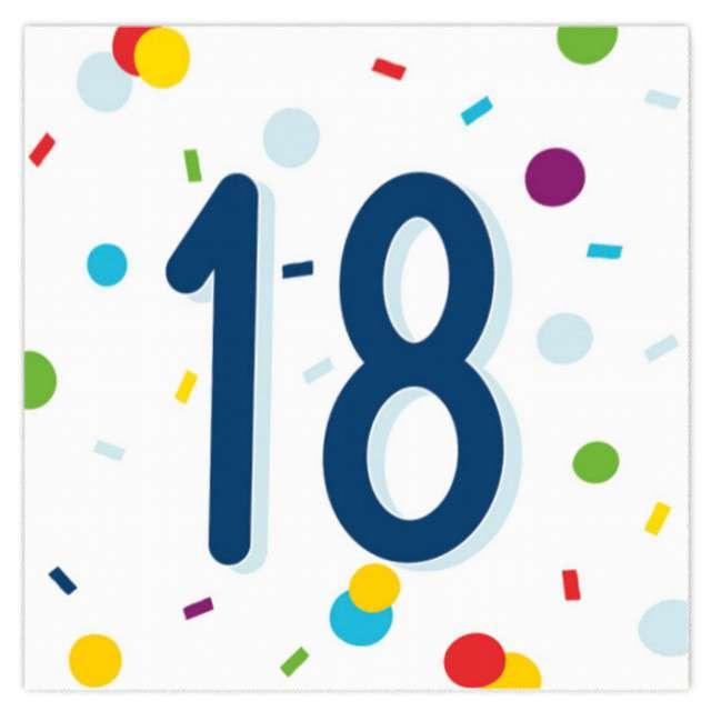 """Serwetki """"Urodziny konfetti 18"""", Amscan, 33 cm, 20 szt."""