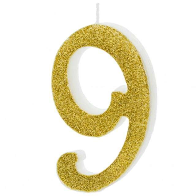 """Świeczka na tort """"Cyfra 9"""", złota, Partydeco, 1 szt"""