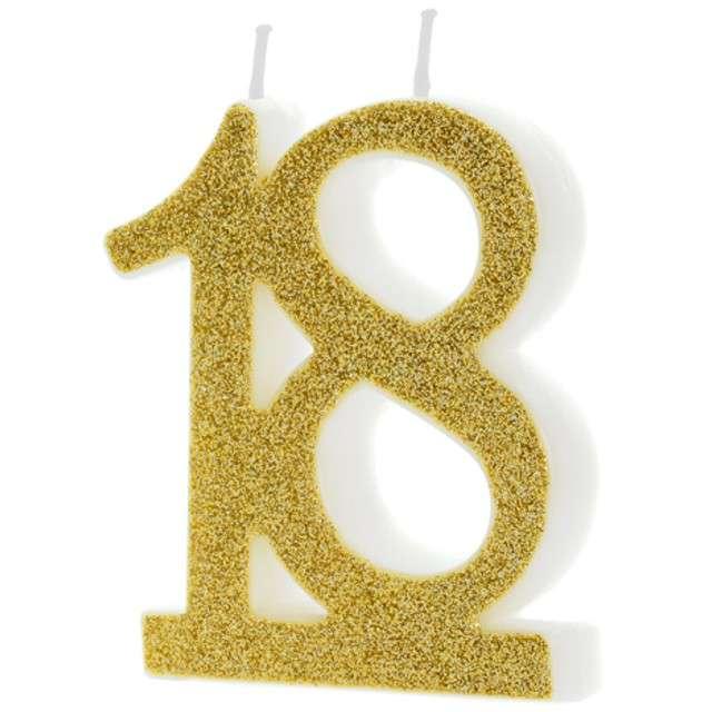 """Świeczka na tort """"Liczba 18"""", złota, Partydeco, 1 szt"""