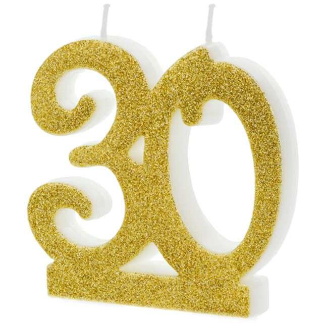 """Świeczka na tort """"Liczba 30"""", złota, Partydeco"""