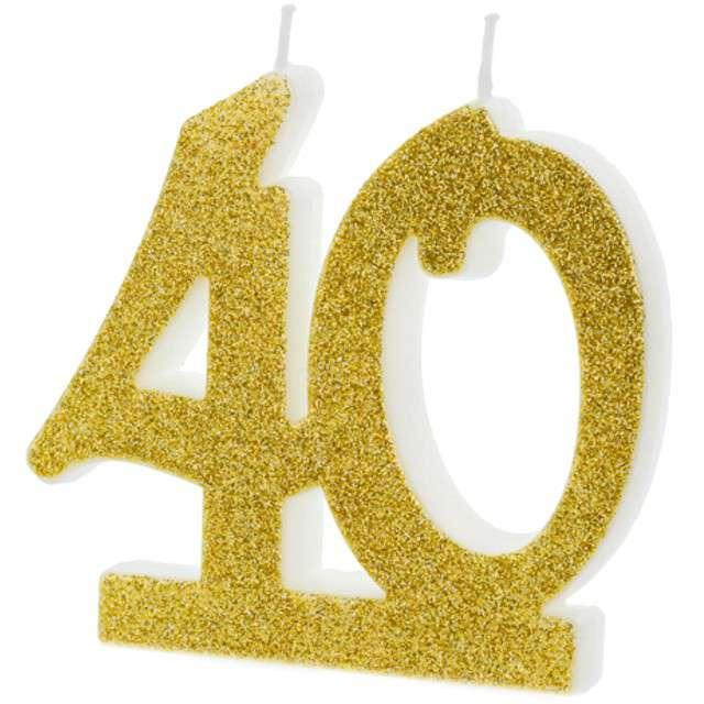 """Świeczka na tort """"Liczba 40"""", złota, Partydeco"""