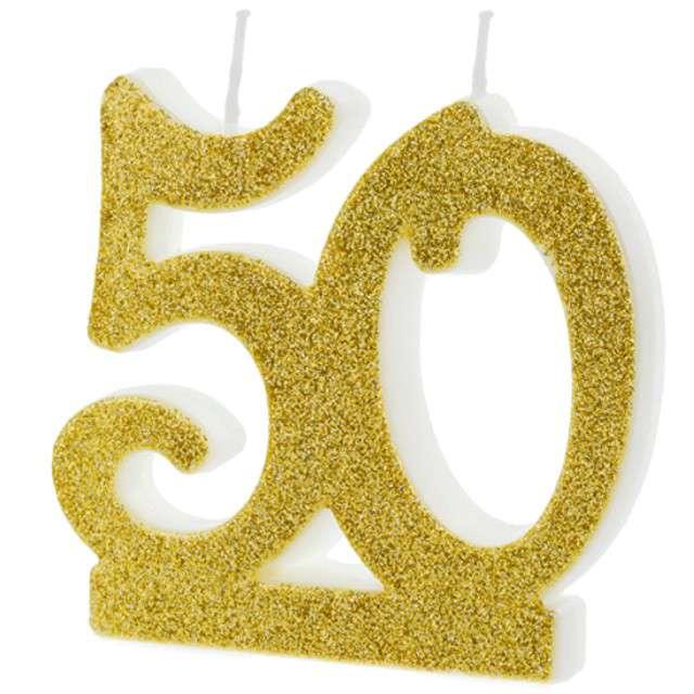 """Świeczka na tort """"Liczba 50"""", złota, Partydeco"""