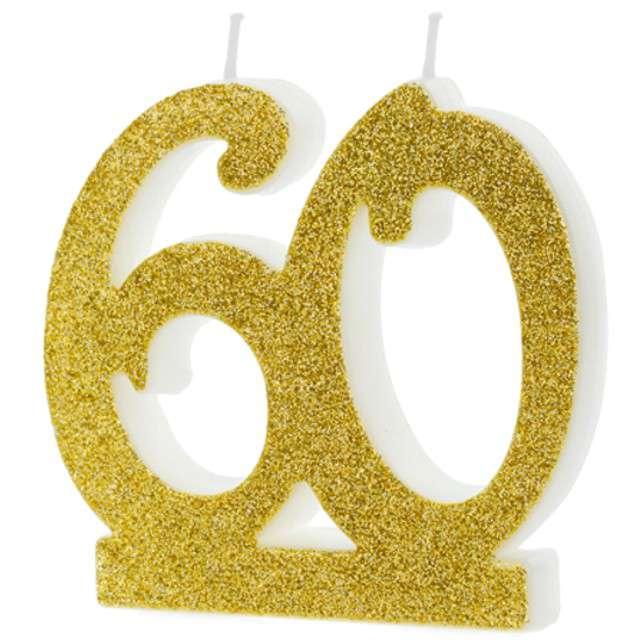 """Świeczka na tort """"Liczba 60"""", złota, Partydeco"""