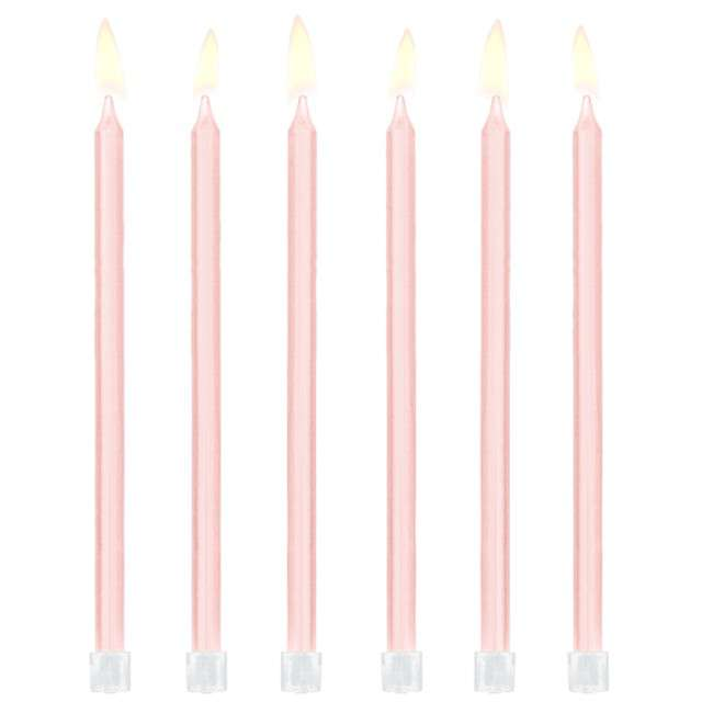 """Świeczki na tort """"Classic"""", różowe, Partydeco, 12 szt"""