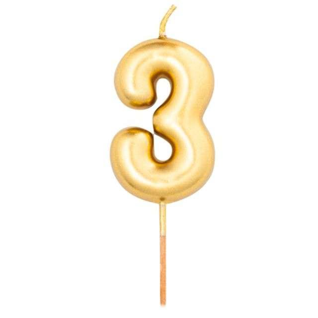 """Świeczka na tort """"Cyfra 3"""", złoty metalik, Givi, 8 cm"""