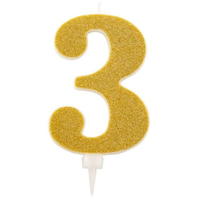 """Świeczka na tort """"Cyfra 3"""", złota brokatowa, Givi, 15,5 cm"""