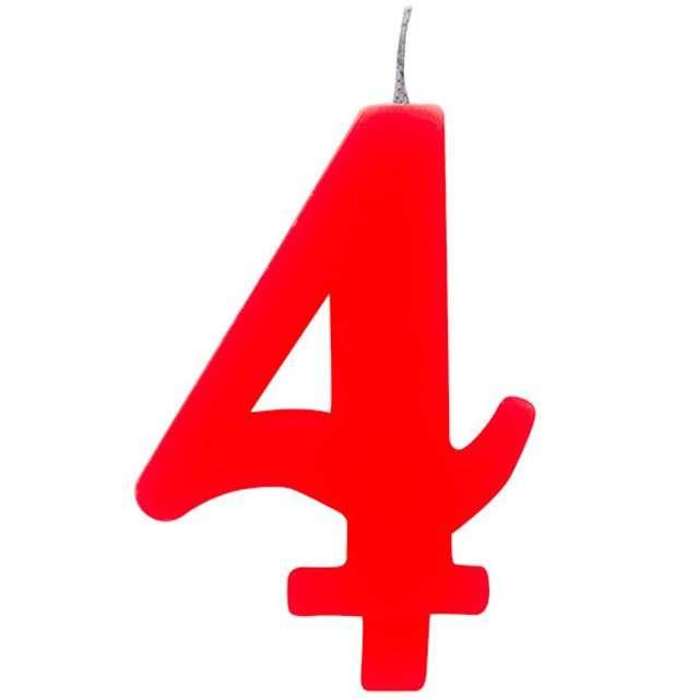 """Świeczka na tort """"Cyfra 4 iskrząca"""", czerwona, Givi, 9,5 cm"""