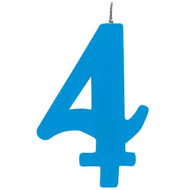 """Świeczka na tort """"Cyfra 4 iskrząca"""", niebieska, Givi, 9,5 cm"""