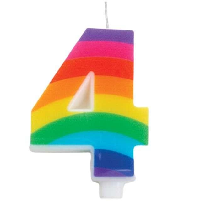 """Świeczka na tort """"Cyfra 4 iskrząca"""", tęczowa, Givi, 9,5 cm"""