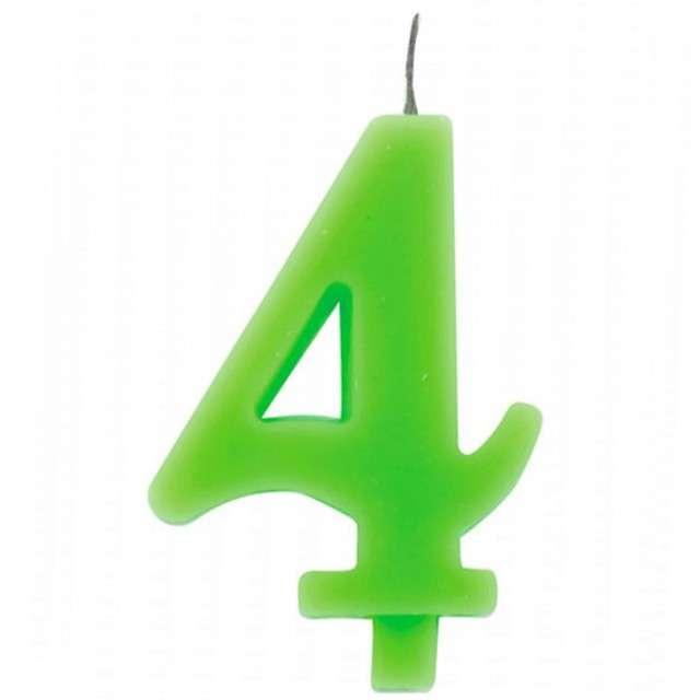 """Świeczka na tort """"Cyfra 4 iskrząca"""", zielona, Givi, 9,5 cm"""