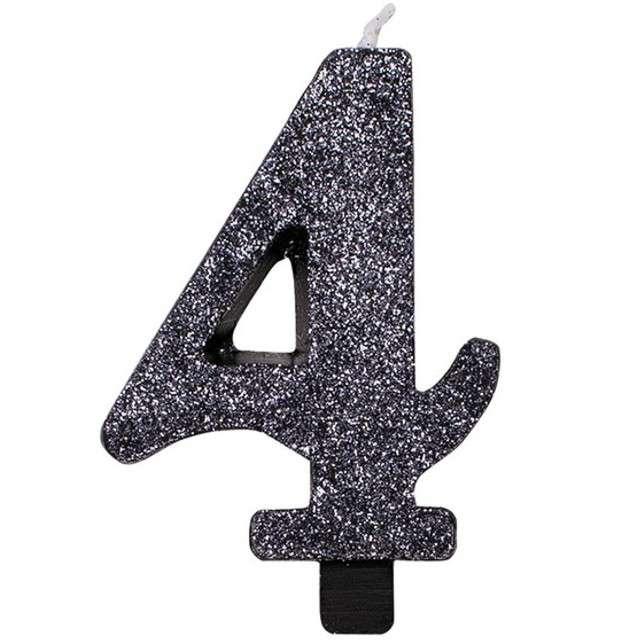"""Świeczka na tort """"Cyfra 4"""", czarna brokatowa, Givi, 9,5 cm"""