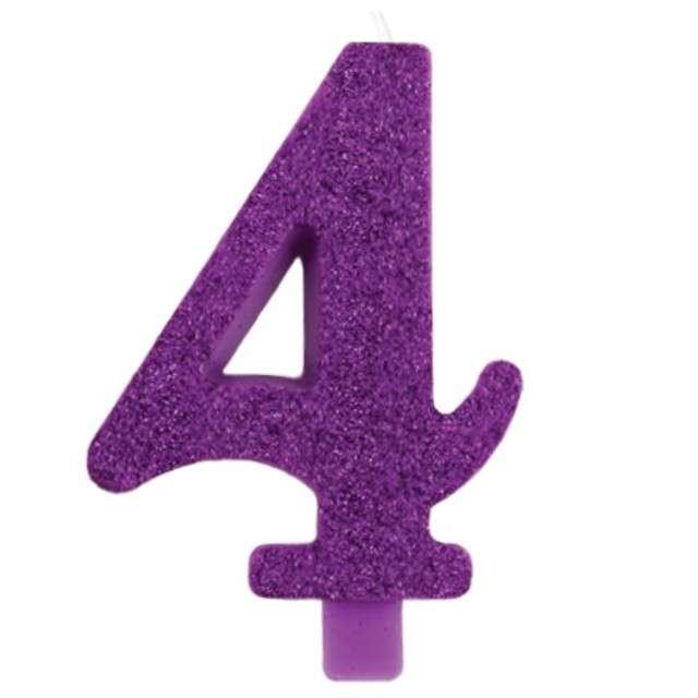 """Świeczka na tort """"Cyfra 4"""", fioletowa brokatowa, Givi, 9,5 cm"""