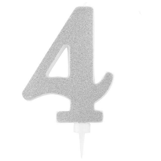 """Świeczka na tort """"Cyfra 4"""", srebrna brokatowa, Givi, 15,5 cm"""