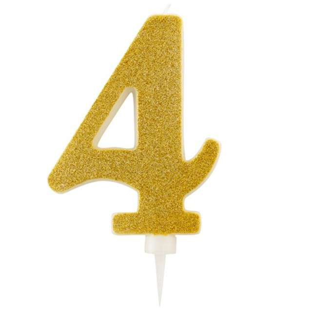 """Świeczka na tort """"Cyfra 4"""", złota brokatowa, Givi, 15,5 cm"""