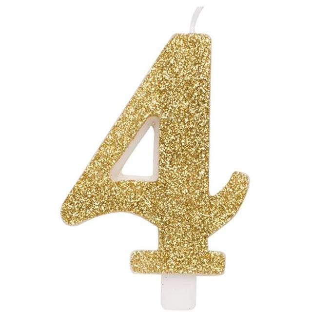 """Świeczka na tort """"Cyfra 4"""", złota brokatowa, Givi, 9,5 cm"""