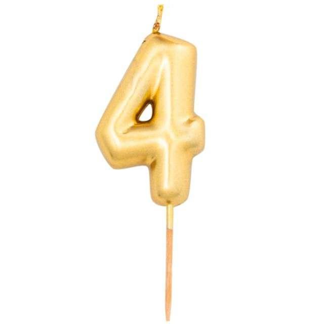 """Świeczka na tort """"Cyfra 4"""", złoty metalik, Givi, 8 cm"""