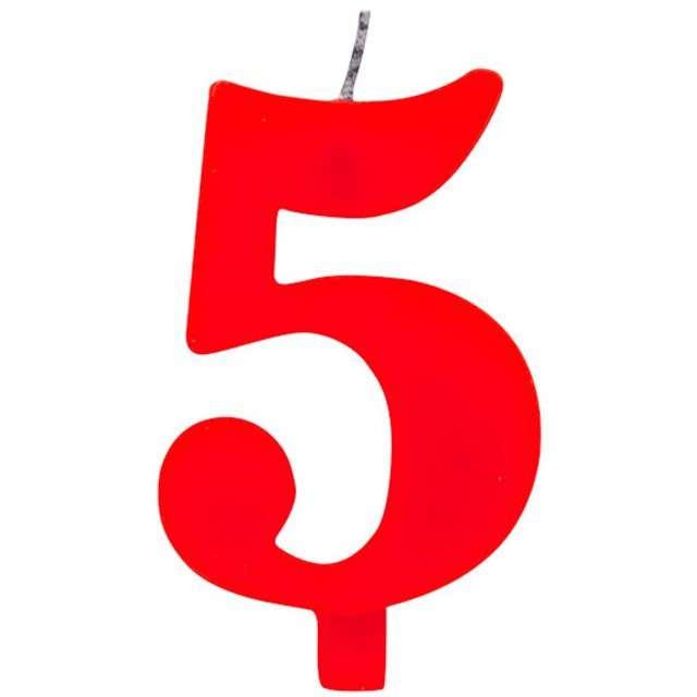 """Świeczka na tort """"Cyfra 5 iskrząca"""", czerwona, Givi, 9,5 cm"""