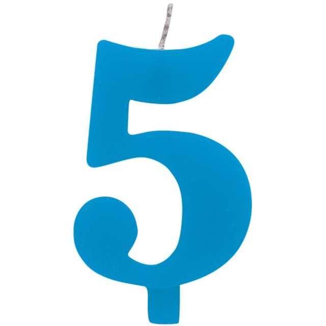 """Świeczka na tort """"Cyfra 5 iskrząca"""", niebieska, Givi, 9,5 cm"""
