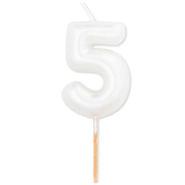 """Świeczka na tort """"Cyfra 5"""", biały perłowy, Givi, 8 cm"""