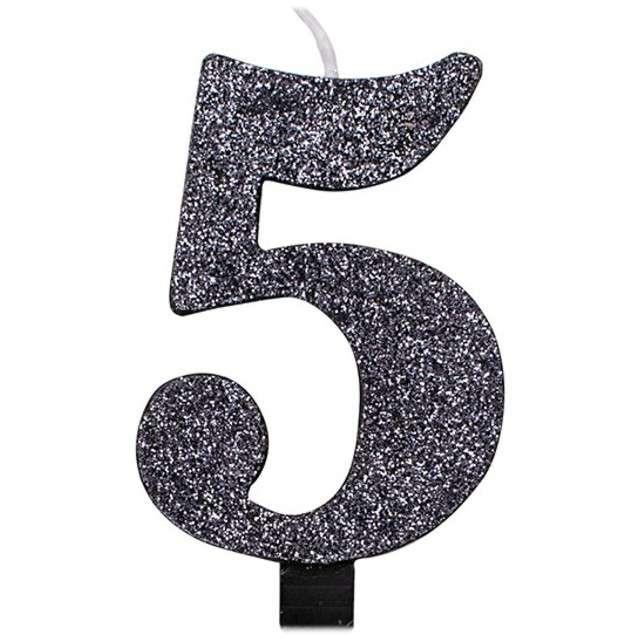 """Świeczka na tort """"Cyfra 5"""", czarna brokatowa, Givi, 9,5 cm"""