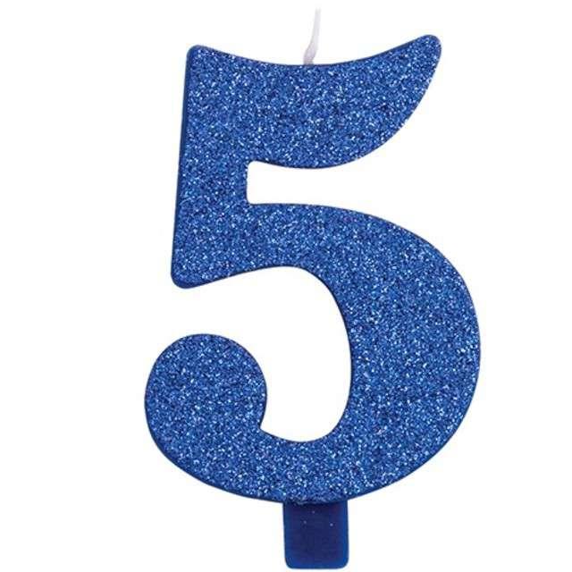 """Świeczka na tort """"Cyfra 5"""", niebieska brokatowa, Givi, 9,5 cm"""