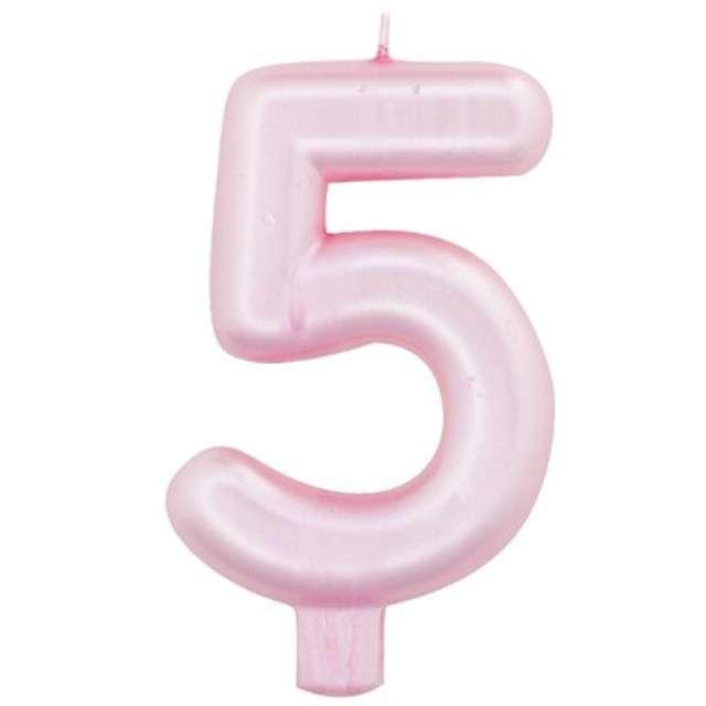 """Świeczka na tort """"Cyfra 5"""", różowy perłowy, Givi, 9 cm"""
