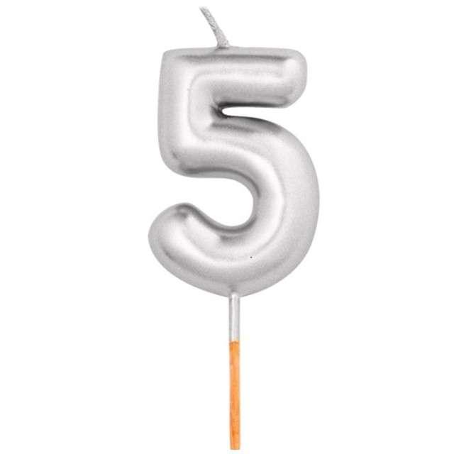 """Świeczka na tort """"Cyfra 5"""", srebrny metalik, Givi, 8 cm"""