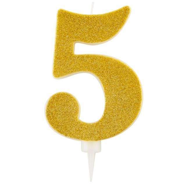 """Świeczka na tort """"Cyfra 5"""", złota brokatowa, Givi, 15,5 cm"""