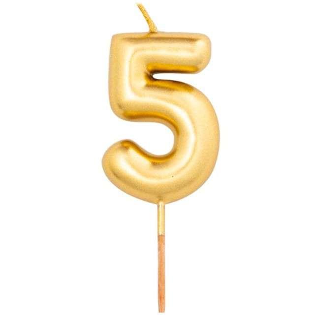 """Świeczka na tort """"Cyfra 5"""", złoty metalik, Givi, 8 cm"""