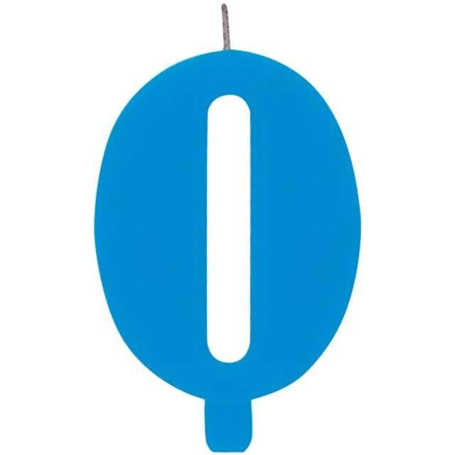 """Świeczka na tort """"Cyfra 0 iskrząca"""", niebieska, Givi, 9,5 cm"""