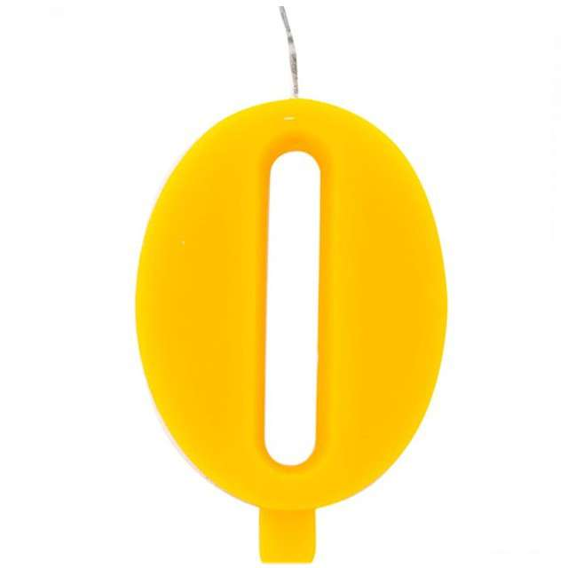 """Świeczka na tort """"Cyfra 0 iskrząca"""", żółta, Givi, 9,5 cm"""