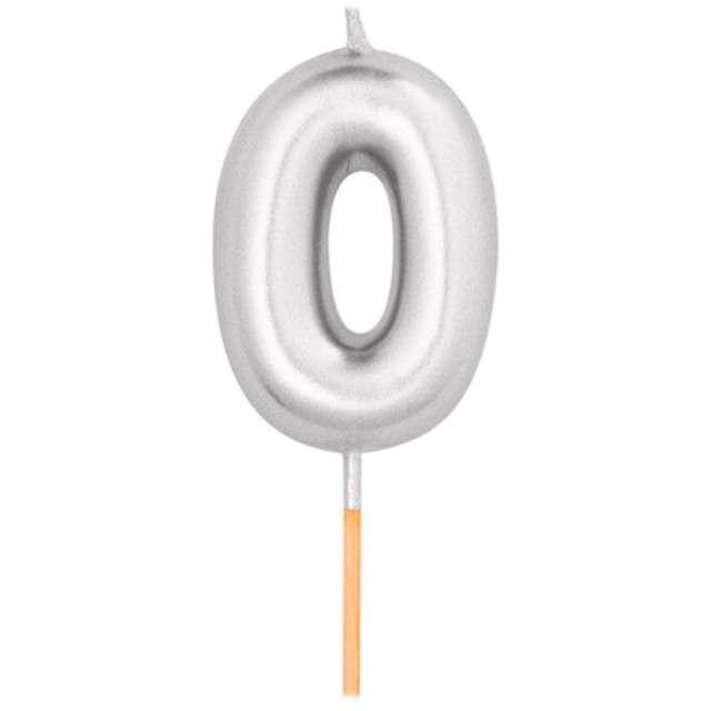 """Świeczka na tort """"Cyfra 0"""", srebrny metalik, Givi, 8 cm"""