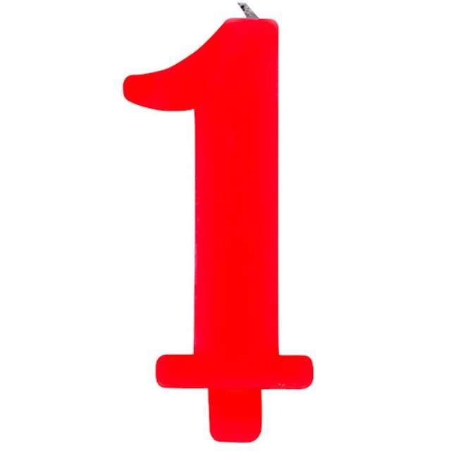 """Świeczka na tort """"Cyfra 1 iskrząca"""", czerwona, Givi, 9,5 cm"""
