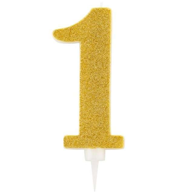 """Świeczka na tort """"Cyfra 1"""", złota brokatowa, Givi, 15,5 cm"""