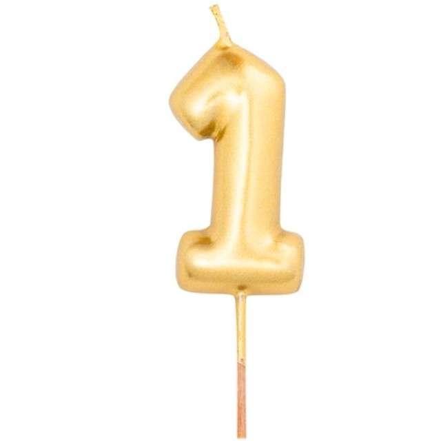 """Świeczka na tort """"Cyfra 1"""", złoty metalik, Givi, 8 cm"""