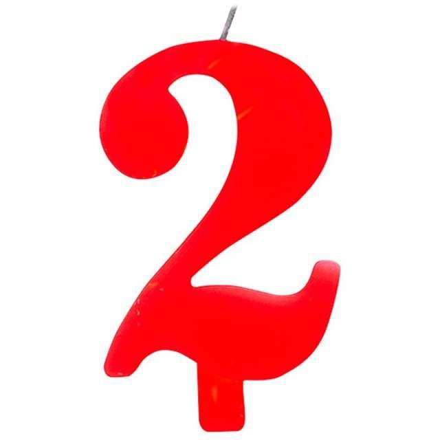 """Świeczka na tort """"Cyfra 2 iskrząca"""", czerwona, Givi, 9,5 cm"""