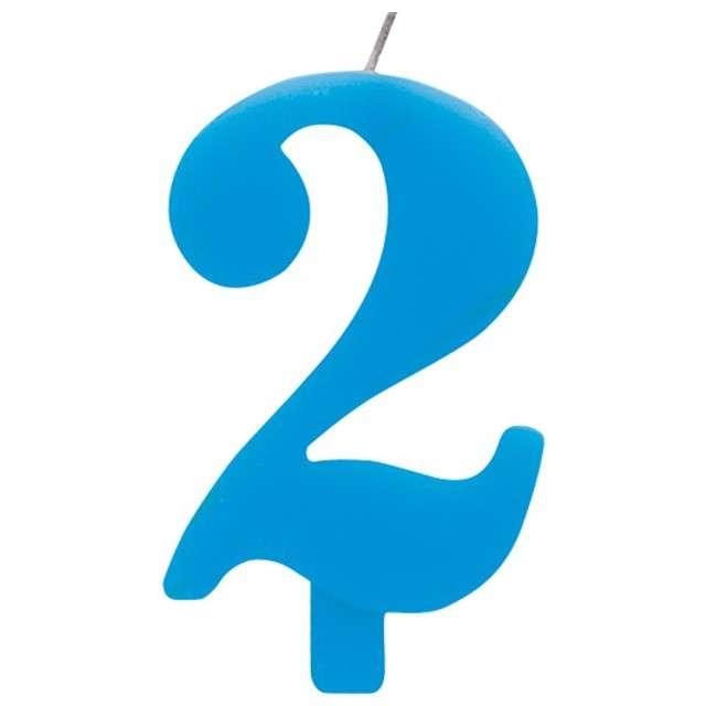 """Świeczka na tort """"Cyfra 2 iskrząca"""", niebieska, Givi, 9,5 cm"""