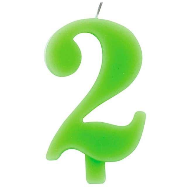 """Świeczka na tort """"Cyfra 2 iskrząca"""", zielona, Givi, 9,5 cm"""