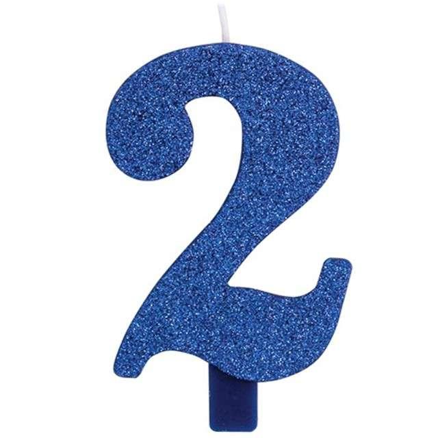 """Świeczka na tort """"Cyfra 2"""", niebieska brokatowa, Givi, 9,5 cm"""
