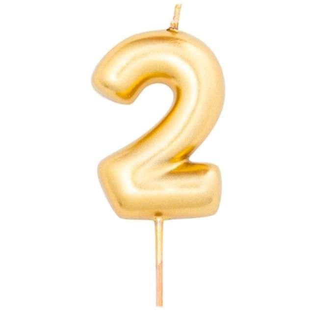 """Świeczka na tort """"Cyfra 2"""", złoty metalik, Givi, 8 cm"""