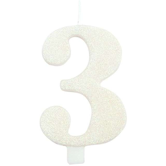 """Świeczka na tort """"Cyfra 3"""", biała brokatowa, Givi, 9,5 cm"""