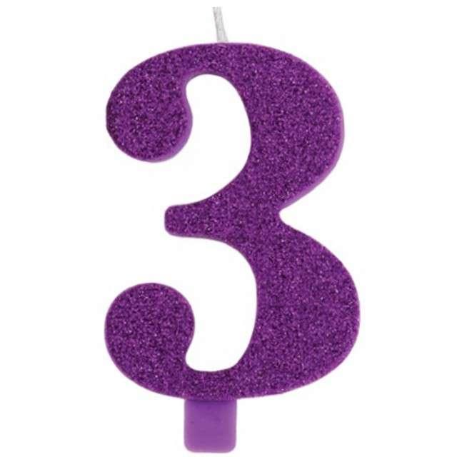 """Świeczka na tort """"Cyfra 3"""", fioletowa brokatowa, Givi, 9,5 cm"""