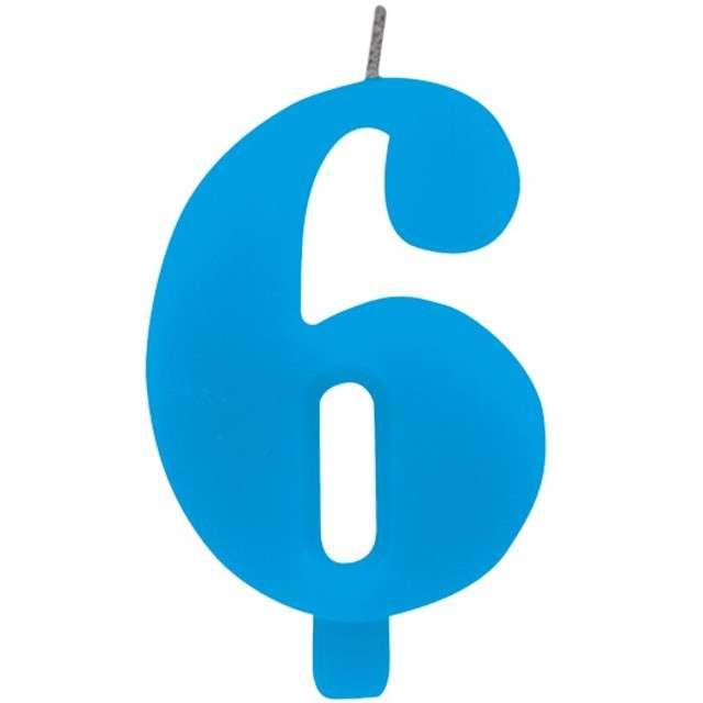 """Świeczka na tort """"Cyfra 6 iskrząca"""", niebieska, Givi, 9,5 cm"""