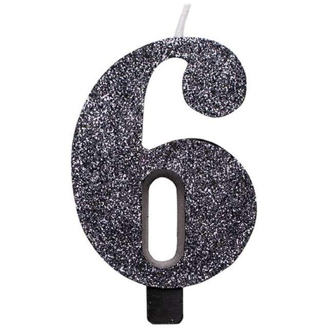 """Świeczka na tort """"Cyfra 6"""", czarna brokatowa, Givi, 9,5 cm"""