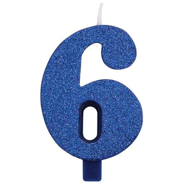 """Świeczka na tort """"Cyfra 6"""", niebieska brokatowa, Givi, 9,5 cm"""