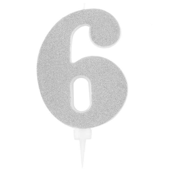 """Świeczka na tort """"Cyfra 6"""", srebrna brokatowa, Givi, 15,5 cm"""